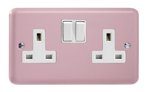Varilight XY5W.RP Lily Pastel Rose Pink 2 Gang Double 13A Switched Plug Socket